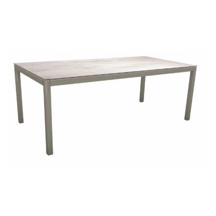 Stern Tischsystem, Gestell Aluminium graphit, Tischplatte HPL Zement hell, 200x100 cm
