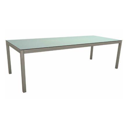 Stern Tischsystem, Gestell Aluminium graphit, Tischplatte HPL Nordic Green, 250x100 cm