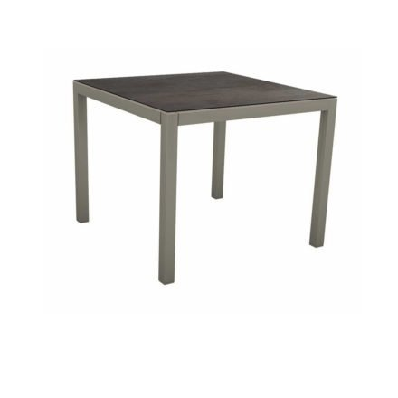 Stern Tischsystem, Gestell Aluminium graphit, Tischplatte HPL Nitro, 80x80 cm