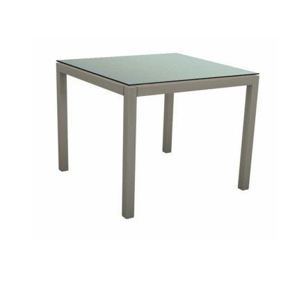 Stern Tischsystem, Gestell Aluminium graphit, Tischplatte HPL Nordic Green, 80x80 cm