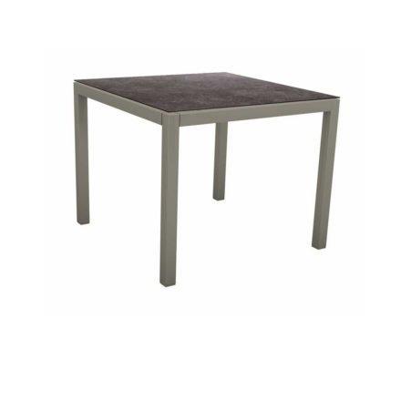 Stern Tischsystem, Gestell Aluminium graphit, Tischplatte HPL Vintage grau, 80x80 cm