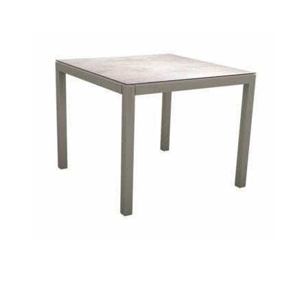 Stern Tischsystem, Gestell Aluminium graphit, Tischplatte HPL Zement hell, 80x80 cm