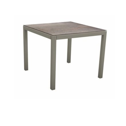 Stern Tischsystem, Gestell Aluminium graphit, Tischplatte HPL Smoky, 90x90 cm