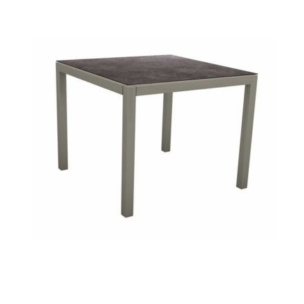 Stern Tischsystem, Gestell Aluminium graphit, Tischplatte HPL Vintage grau, 90x90 cm