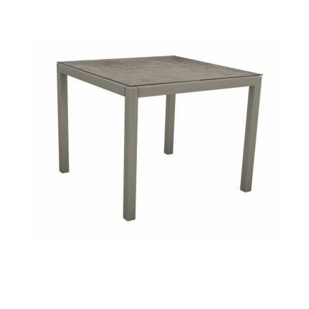 Stern Tischsystem, Gestell Aluminium graphit, Tischplatte HPL Zement, 90x90 cm