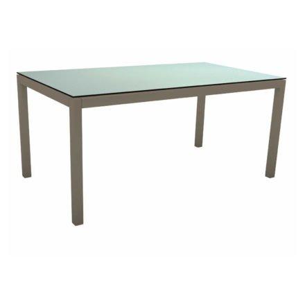 Stern Tischsystem, Gestell Aluminium taupe, Tischplatte HPL Nordic Green, 160x90 cm