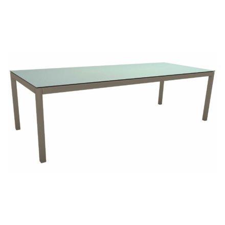 Stern Tischsystem, Gestell Aluminium taupe, Tischplatte HPL Nordic Green, 250x100 cm