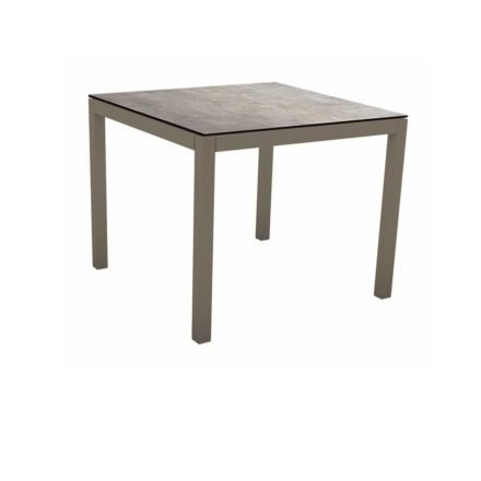 Stern Tischsystem, Gestell Aluminium taupe, Tischplatte HPL Metallic Grau, 80x80 cm