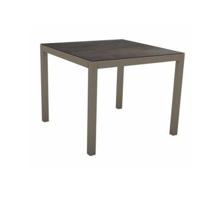 Stern Tischsystem, Gestell Aluminium taupe, Tischplatte HPL Nitro, 80x80 cm