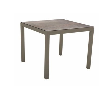Stern Tischsystem, Gestell Aluminium taupe, Tischplatte HPL Smoky, 80x80 cm