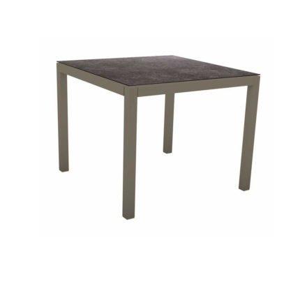 Stern Tischsystem, Gestell Aluminium taupe, Tischplatte HPL Vintage Grau, 80x80 cm