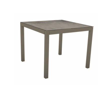 Stern Tischsystem, Gestell Aluminium taupe, Tischplatte HPL Zement, 80x80 cm
