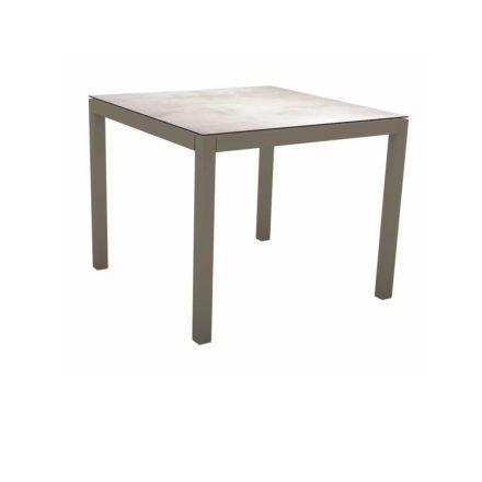 Stern Tischsystem, Gestell Aluminium taupe, Tischplatte HPL Zement hell, 80x80 cm