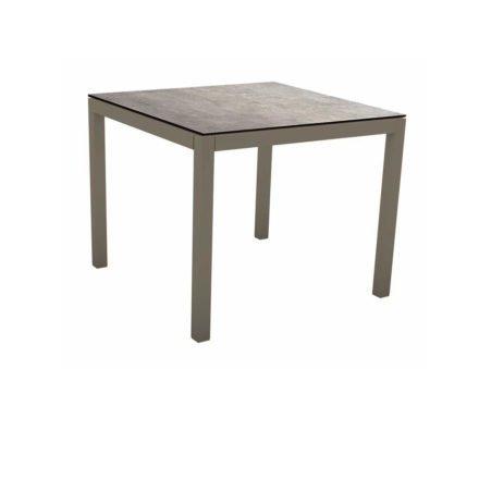 Stern Tischsystem, Gestell Aluminium taupe, Tischplatte HPL Metallic Grau, 90x90 cm