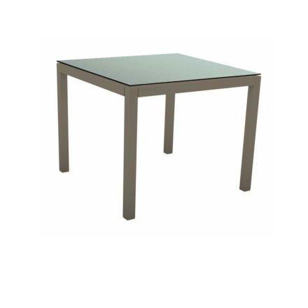 Stern Tischsystem, Gestell Aluminium taupe, Tischplatte HPL Nordic Green, 90x90 cm