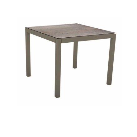 Stern Tischsystem, Gestell Aluminium taupe, Tischplatte HPL Smoky, 90x90 cm