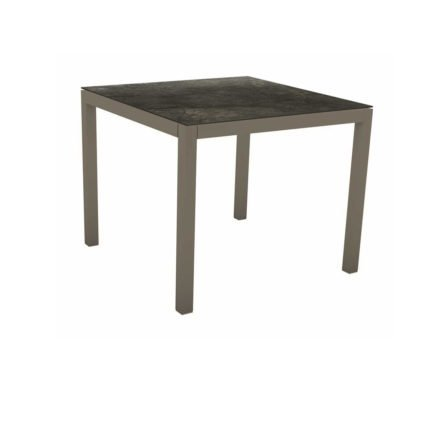 Stern Tischsystem, Gestell Aluminium taupe, Tischplatte HPL Dark Marble, 80x80 cm