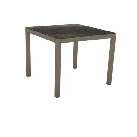 Stern Tischsystem, Gestell Aluminium taupe, Tischplatte HPL Dark Marble, 90x90 cm