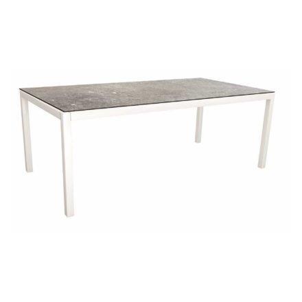 Stern Tischsystem, Gestell Aluminium weiß, Tischplatte HPL Vintage stone, Größe: 200x100 cm