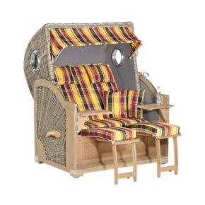 "SunnySmart Strandkorb ""Rustikal 500 Plus Comfort"", Mahagoni rustic-washed, Geflecht basalt-grau, Stoff-Nr. 1216 / uni anthrazit"