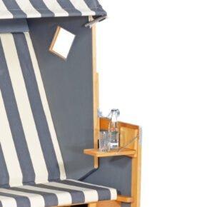Sunnysmart Seitentisch für Strandkorb, Pinienholz teakfarben gebürstet
