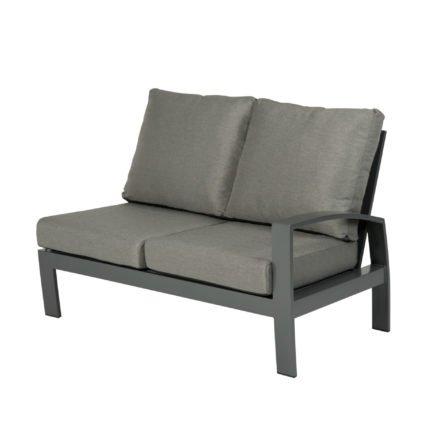 """Tierra Outdoor """"Valencia"""" 2-Sitzer-Seitenteil, Armlehne links, Gestell Aluminium anthrazit, Textilgewebe silber-schwarz, Kissen hellgrau"""