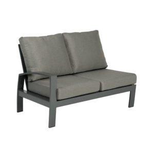 """Tierra Outdoor """"Valencia"""" 2-Sitzer-Seitenteil rechts, Gestell Aluminium anthrazit, Textilgewebe silber-schwarz, Kissen hellgrau"""