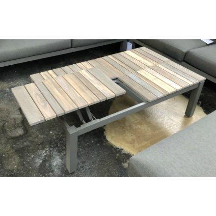 "4Seasons Outdoor Kaffee-Tisch ""Forio"", Gestell Aluminium Smoke grau, Tischplatte Teakholz"