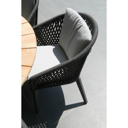 "4Seasons Outdoor Sessel ""Belize"" inkl. 2 Kissen, Gestell Aluminium anthrazit, Rope schwarz"