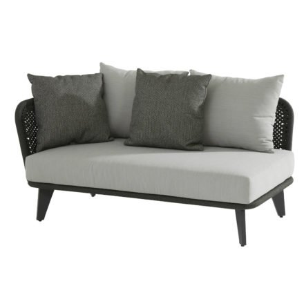 4Seasons Outdoor 2-Sitzer Loungesofa inkl. 3 Kissen & 2 Dekokissen, Armlehne rechts, Gestell Aluminium anthrazit, Rope schwarz