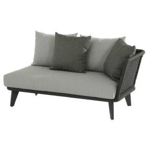 4Seasons Outdoor 2-Sitzer Loungesofa inkl. 3 Kissen & 2 Dekokissen, Armlehne links, Gestell Aluminium anthrazit, Rope schwarz