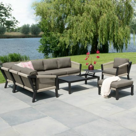 "4Seasons Outdoor Loungeserie ""Oslo"", Gestell Stahl anthrazit, Bespannung Rope natur"