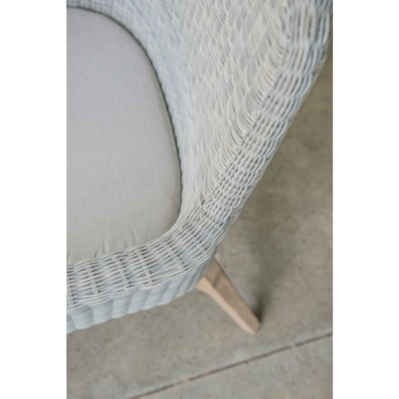 4Seasons Outdoor Sessel inkl. Sitzkissen, Gestell Kreuz-Beine Teakholz, Sitzfläche Polyloom ice