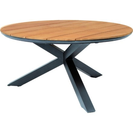 """Tierra Outdoor """"Omnigo"""" Gartentisch, Gestell Aluminium anthrazit, Tischplatte Teakholz, Durchmesser 150 cm"""