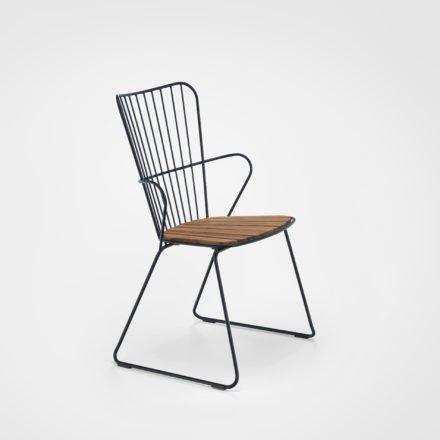 """Houe """"Paon"""" Diningchair, Stahl schwarz, Sitzfläche Bambus"""