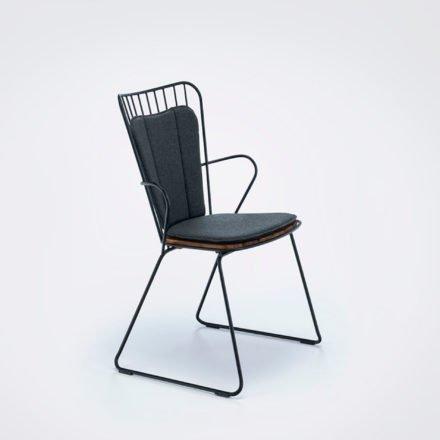 """Houe """"Paon"""" Diningchair, Stahl schwarz, Sitzfläche Bambus, mit Sitz-/Rückenkissen"""