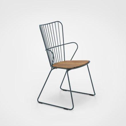 "Houe ""Paon"" Diningchair, Stahl pinegreen, Sitzfläche Bambus"