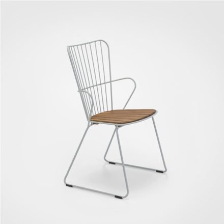 """Houe """"Paon"""" Diningchair, Stahl taupe, Sitzfläche Bambus"""