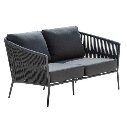 "Jati&Kebon ""Fortuna"" 2-Sitzer Loungesofa, Gestell Aluminium eisengrau, Bespannung Rope schwarz, Kissen Natté Sooty"