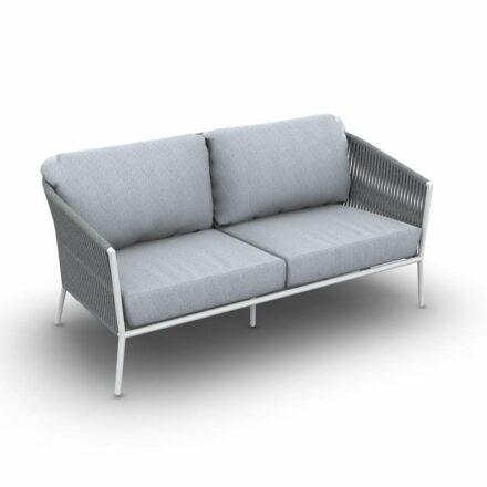 "Jati&Kebon ""Fortuna"" 2-Sitzer Loungesofa, Gestell Aluminium weiß, Bespannung Rope hellgrau melange, Kissen Natté Grey Chiné"