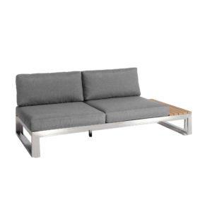 "Jati & Kebon ""Virginia"" 2-Sitzer, links, Gestell Edelstahl, Kissen schiefergrau (slate), Sunbrella® Qualität"