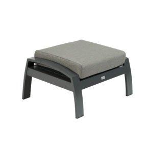 "Tierra Outdoor ""Valencia"" Loungehocker, Gestell Aluminium anthrazit, Sitzfläche Textilgewebe silber-schwarz, Kissen hellgrau"