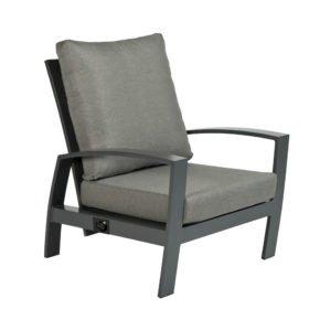 """Tierra Outdoor """"Valencia"""" Loungesessel, verstellbare Rückenlehne, Gestell Aluminium anthrazit, Sitzfläche Textilgewebe silber-schwarz, Kissen hellgrau"""