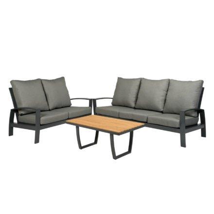 """Tierra Outdoor """"Valencia"""" 2-Sitzer Loungesofa, 3-Sitzer Loungesofa und Loungetisch Teakplatte, Gestell Aluminium anthrazit"""