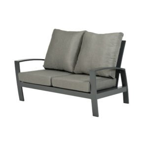 "Tierra Outdoor ""Valencia"" 2-Sitzer Loungesofa, Gestell Aluminium anthrazit, Textilgewebe silber-schwarz, Kissen hellgrau"