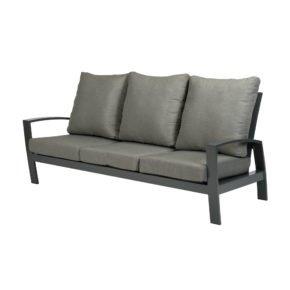 "Tierra Outdoor ""Valencia"" 3-Sitzer-Loungesofa, Gestell Aluminium anthrazit, Textilgewebe silber-schwarz, Kissen hellgrau"