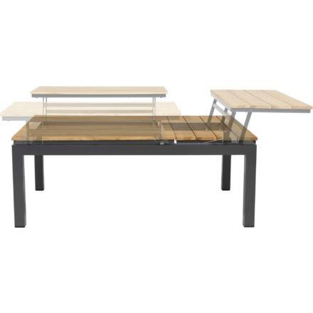 """Tierra Outdoor """"Flip-up"""" Loungetisch, Gestell Aluminium anthrazit, Tischplatte Teakholz, drei einzelne Module, verstellbar"""