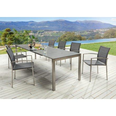 "SIT Mobilia Tisch ""Etna"", Gestell Edelstahl, Tischplatte Keramik Oxido lava, Stuhl ""Santos"""
