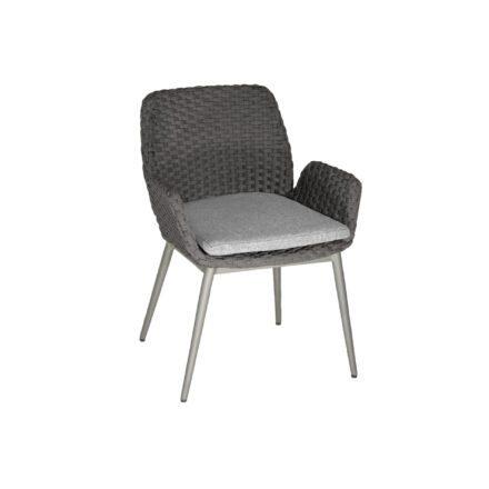 """SIT Mobilia Gartenstuhl """"Talca"""", Gestell Aluminium eisengrau Rundrohr, Geflecht Flatrope anthrazit, Kissen white/grey"""