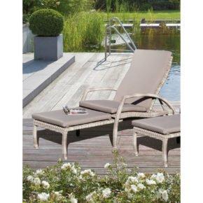 """SonnenPartner Auflage für Deckchair """"Mauritius"""", Farbe Taupe (Abb. ähnlich, Stoff hat im Original mehr Struktur)"""